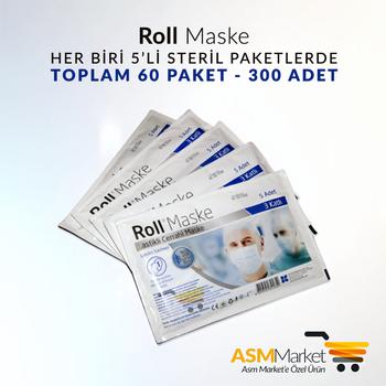 Roll Cerrahi Maske - 300 Adet - 5'li Zarflarda 60 Paket