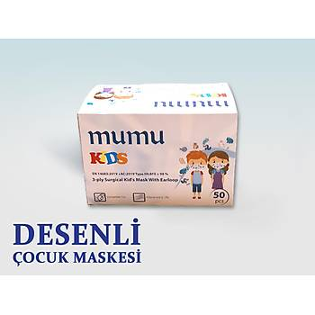 Mumu Desenli Çocuk Cerrahi Maske - 3 Katlý - Sertifikalý - 50 Adet