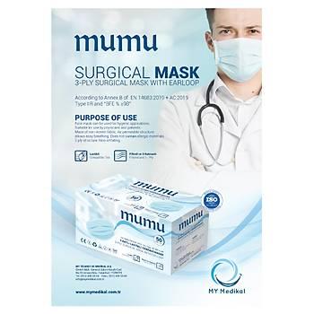 Mumu Cerrahi Maske - 3 Katlý - Sertifikalý - 50 Adet