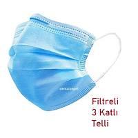 MAXILIFE 3 Katlý- Filtreli -Burun Telli Lastikli 1. Sýnýf Mavi Maske