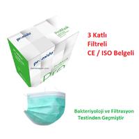 PROMIDA 3 Katlý- Filtreli -Burun Telli Lastikli 1. Sýnýf Yeþil  Maske  ( Filtrasyon ve Bakteri TestlÝ )