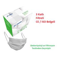 PROMIDA 3 Katlý- Filtreli- Burun Telli Lastikli 1. Sýnýf Mavi Maske  ( Filtrasyon ve Bakteri TestlÝ )