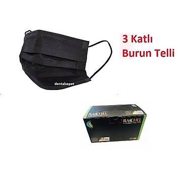 STR - RACHEL 3 Katlý Siyah Maske- Burun Telli Lastikli 1. Sýnýf (4 Paket Üzeri Sipariþler Ýptal Edilir )