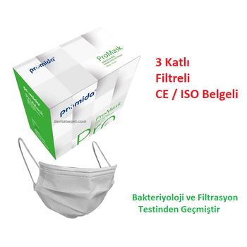 PROMIDA 3 Katlý- Filtreli -Burun Telli Lastikli 1. Sýnýf Beyaz  Maske  ( Filtrasyon ve Bakteri TestlÝ )
