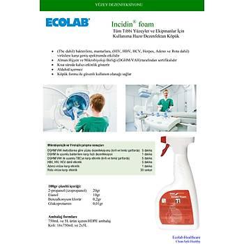 ECOLAB Incidin Foam 5 Lt. Hýzlý Yüzey Dezenfektaný