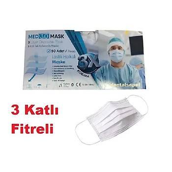 MED 3.0 -  3 Katlý- Burun Telli Lastikli 1. Sýnýf Beyaz Maske  ( 4 Paket Üzeri Sipariþler Ýptal Edilir )