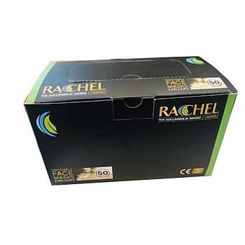 STR - RACHEL 3 Katlı Siyah Maske- Burun Telli Lastikli 1. Sınıf (4 Paket Üzeri Siparişler İptal Edilir )