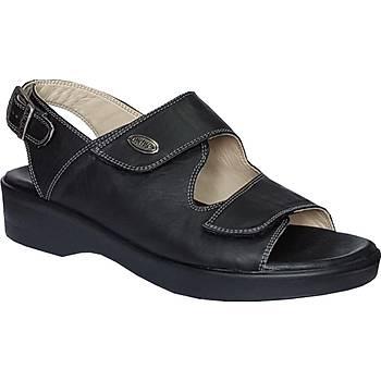 Ortopedik Deri Siyah Bayan Sandalet ORT07AS