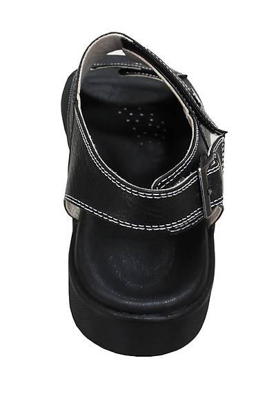 Erkek Siyah Hakiki Deri Sandalet ORT13AS