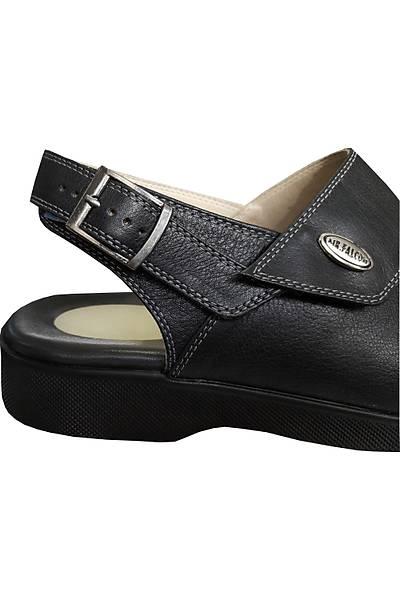 Mr.Falcon Erkek EPT-14AS Siyah Topuk Dikeni Deri Ortopedik Sandalet