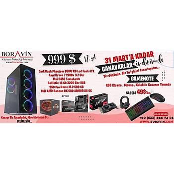 Phantom 650W Kasa Ryzen 7 2700X MSI RX580 ARMOR MSI B450 TOMAHAWK 512GBSSD m.2 16GB RGB 3200MHzv