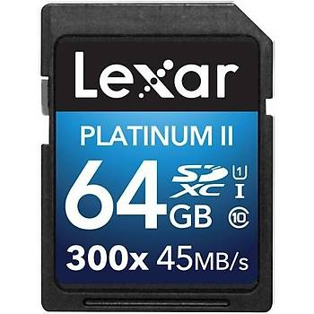 Lexar 64GB 300X Premium II SDXC Hafýza Kartý Class10 U1 45MB/sn