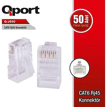 QPort Q-J650 CAT6 50 LÝK RJ-45 Konnektör