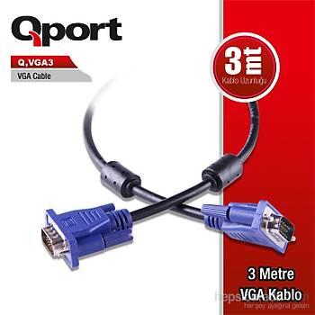 Qport VGA3 15 Pin Filtreli 3 M Erkek Erkek Monitör Kablosu (Q-VGA3)