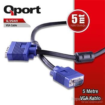 Qport VGA5 15 Pin Filtreli 5M Erkek Erkek Monitör Kablo (Q-VGA5)