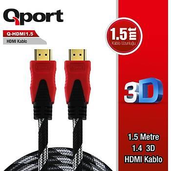 Qport HDMI to HDMI 1.5 M Altýn Uçlu Kablo (Q-HDMI1.5)