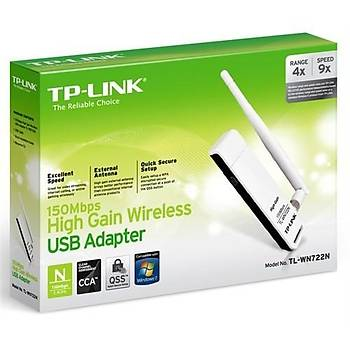 TP-LINK TL-WN722N 150 Mbps N Kablosuz Yüksek Kazanýmlý 4dBi Deðiþtirilebilir Antenli WPS USB Adaptör