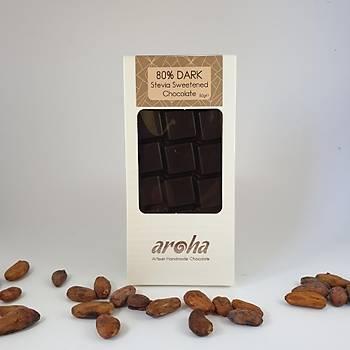 Aroha Þeker Ýlavesiz Stevialý %80 Bitter Çikolata (Ketojenik)