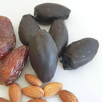 %100 Bitter Çikolata Kaplý, Badem Dolgulu Hurma