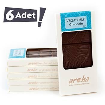 Aroha Vegan Sütlü Çikolata - Organik Hindistan Cevizi Sütü - 6 lı Paket