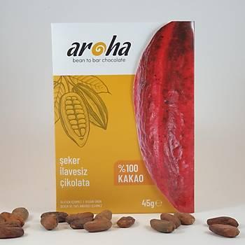 Aroha Þeker Ýlavesiz %100 Bitter Çikolata- 45 gr