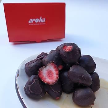 Aroha %82 Bitter Çikolata Kaplı Freeze Dried Çilek - Rafine Şekersiz