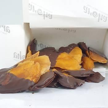 %72 Bitter Çikolataya Batýrýlmýþ Þeker Ýlavesiz Kurutulmuþ Mango-150 Gr.