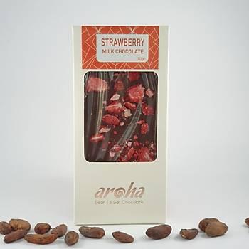Aroha Çilekli Sütlü Çikolata - % 50 Kakao