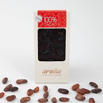 Aroha Þeker Ýlavesiz Üzümlü Simsiyah Çikolata - %100 Kakao