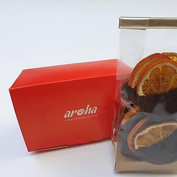 Aroha %82 Bitter Çikolata Kaplý Mandalina Cipsi - Rafine Þekersiz