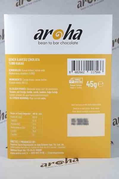 Aroha Þeker Ýlavesiz %100 Bitter Çikolata- 45 gr. Ýnce Tablet
