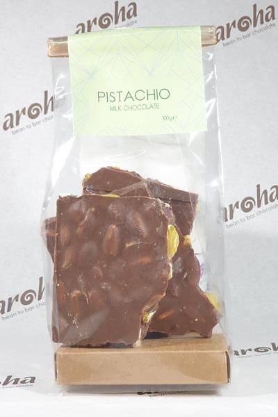 Antepfýstýklý Sütlü Çikolata - %50 Kakao. 100-300 ve 600 Gr. seçenekleri ile.