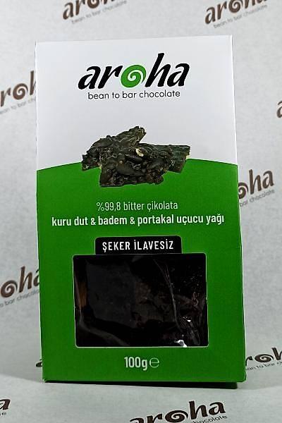 Þeker Ýlavesiz %99,8 Bitter Çikolata - Kuru dut, Badem & Portakal Uçucu Yaðý