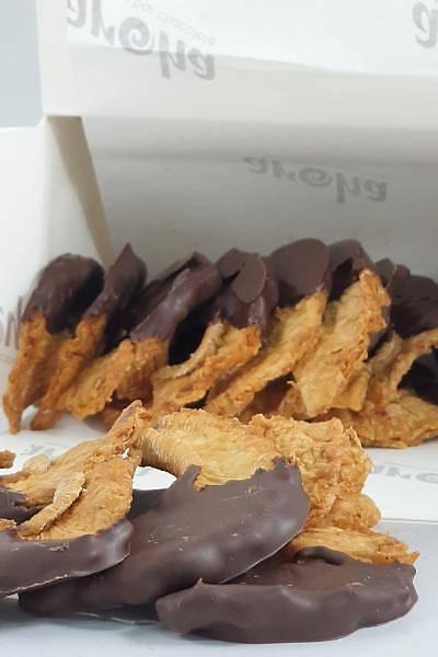%72 Bitter Çikolataya Batýrýlmýþ Þeker Ýlavesiz Kurutulmuþ Ananas ve Mango-300 Gr.