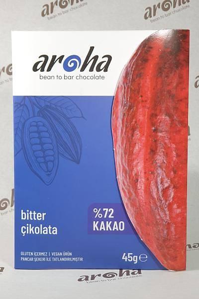 Aroha Bitter Çikolata - %72 Kakao - 45 Gr. Ýnce Tablet