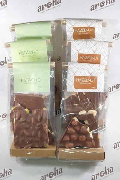 Sütlü Blok Çikolata. 6 Adet (3 X Fýndýk, 3 X Antepfýstýðý)