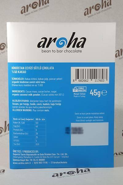 Hindistan Cevizi Sütlü Çikolata - Vegan Milk- 45 gr. Ýnce Tablet