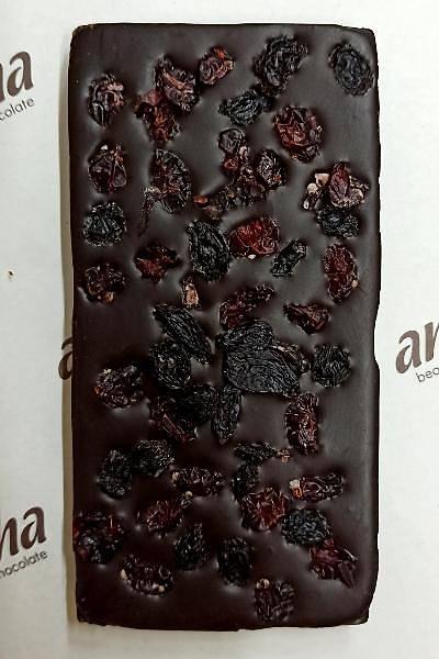 Þeker Ýlavesiz Cranberry ve Üzümlü Simsiyah Çikolata - %100 Kakao, 6 Adet