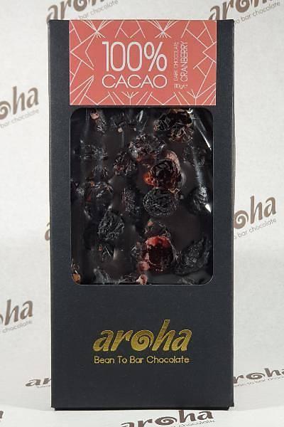Aroha Þeker Ýlavesiz Cranberry  ve Üzümlü Simsiyah Çikolata - %100 Kakao