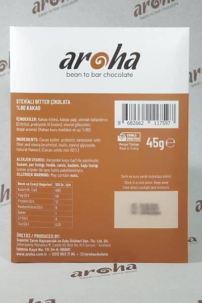 Þeker Ýlavesiz Stevialý %80 Bitter Çikolata (Ketojenik) - 45 Gr. Ýnce Tablet