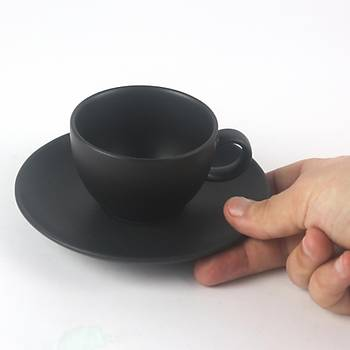 Kütahya Porselen Mat Siyah Türk Kahve Fincaný Tabaklý 80cc 6 Adet