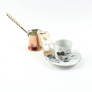 Elsanat Ortaköy Cezveli Kahve Ýkram Seti Kurumsal Hediye