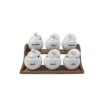 Elsanat Premium Ahþap Standlý Porselen 6lý Baharatlýk Yazýlý