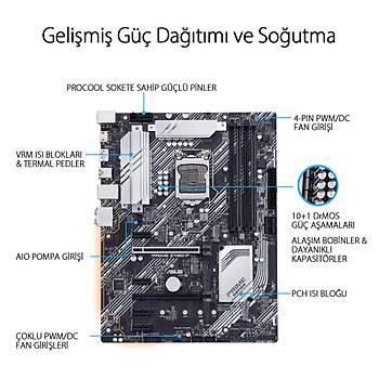 ASUS PRIME Z490-P Intel Z490 LGA1200 DDR4 4600 DP HDMI Çift M2 USB3.2 AURA RGB Header ATX 128GB?a kadar ram desteði
