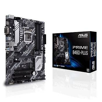 ASUS PRIME B460-PLUS Intel B460 LGA1200 DDR4 2933 DP HDMI DVI Çift M2 USB3.2 2xPCI ATX 64GB Ram Desteði