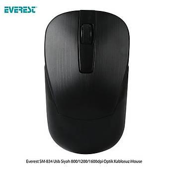 Everest SM-834 Usb Siyah Optik Kablosuz Mouse
