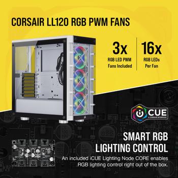 Corsair CC-9011189-WW Icue 465X RGB Temperli Cam Yan Panel Mid Tower Bilgisayar Kasasý Beyaz