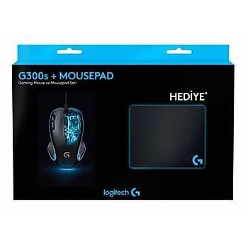 Logitech G300S Mouse+MousePad+Sticker+Bardak Altlýðý (210124049)