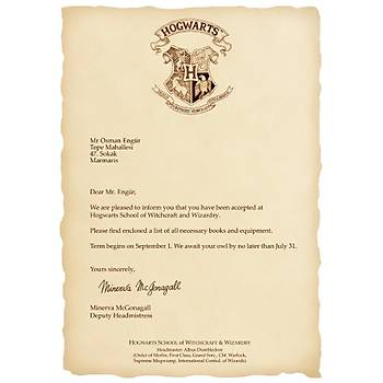 Hogwarts Cadýlýk ve Büyücülük Okulu + Hogwarts Davet Mektubu