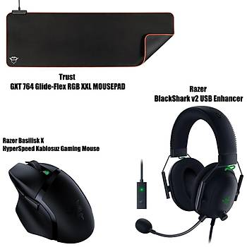 Razer Basilisk X HyperSpeed Kablosuz Gaming Mouse + Razer BlackShark v2 USB Enhancer + Trust GXT 764 Glide-Flex RGB XXL Mousepad